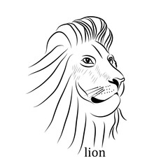 Vector Black and White Tattoo Lion Illustration