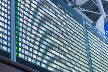 Close up departure board in airport background