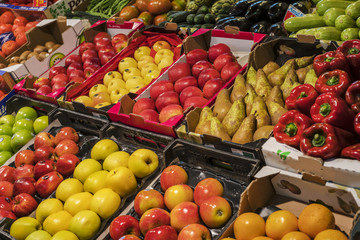 Fresh fruit and vegetable stall in Triana market, Seville, Spain. Famous covered food market in Triana , Seville