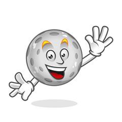 Greeting moon mascot, moon character, moon cartoon vector