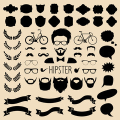 Vector set of dress up with different men hipster haircuts, glasses etc in flat style. App man faces creator.
