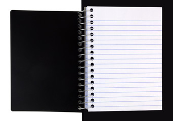 Open spiral lined notebook with black cover. Isolated.