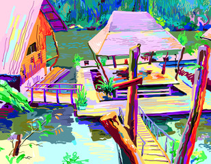 digital painting of asia landscape river in Thailand