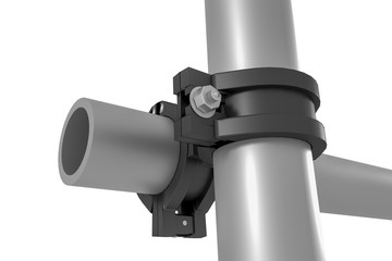 Clamp as pipe connection, 3d illustration