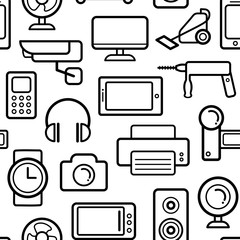 Vector seamless pattern of electrical engineering, household appliances and electronics icons in line style.