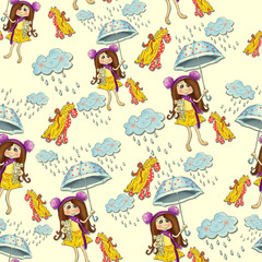 Seamless vintage pattern with a picture-girl with an umbrella, rain, cloud, toy horse. Cheerful children's background.