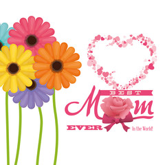 best mom ever in the world - flowers colored heart vector illustration eps 10