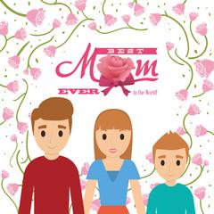 best mom ever in the world - family flowers card vector illustration eps 10