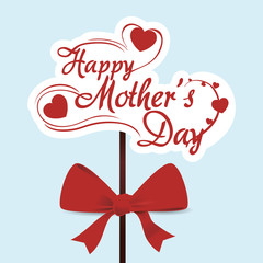happy mothers day typoghaphical red bow vector illustration eps 10