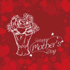 happy mothers day white bouquet roses and lettering red background vector illustration eps 10