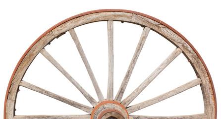 demi-roue en bois, fond blanc