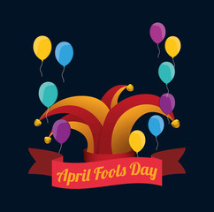 april fools day hat joker balloons dark background vector illustration eps 10
