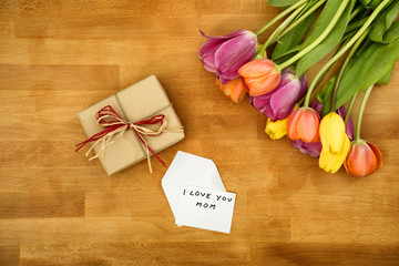 Gift and flowers for Mother's Day