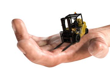 forklift on human hand