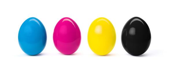 Fototapete - CMYK easter eggs isolated on white background