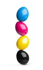 Fototapete - easter eggs in cyan, magenta, yellow, black CMYK
