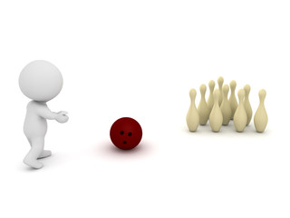 3D Character playing bowling