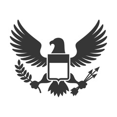 American Presidential Symbol. Eagle with Shield Logo. Vector