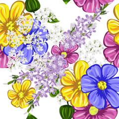 Seamless vector background with cute floral pattern. Design for cloth, wallpaper, gift wrapping. Print for silk, calico and other projects.Colorful flowers on white background.