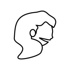 face girl funny glasses outline vector illustration eps 10
