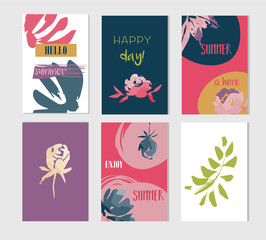 Set of artistic creative summer cards.