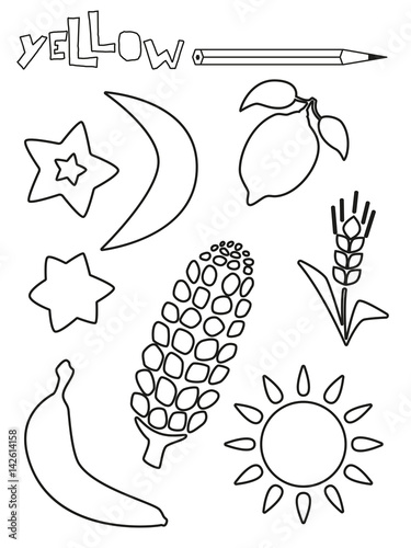Coloring Page Yellow Things Set Single Color Worksheets