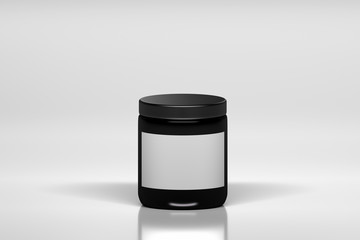 Mockup of big black cream bottle with white blank label. Plastic shiny cosmetics container on white background.