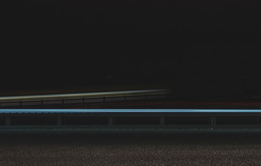 Super fast car lights in minimal style. Motion colorful urban background texture. Modern cityscape road traffic. Travel concept. Science hyperspeed  teleport movement. Time machine.