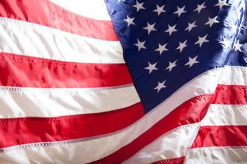 USA flag. American flag. American flag blowing wind.