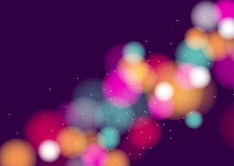 Colorful bokeh background with defocused lights. Vector Illustration
