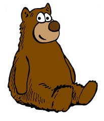 Color cartoon illustration of a brown teddy bear.