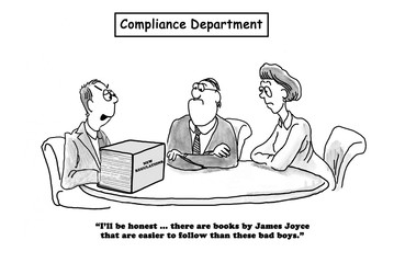 Business cartoon showing a 'new regulations' binder that is difficult to follow.