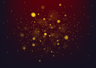 Gold background with defocused lights. Vector Illustration