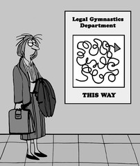 Cartoon illustration of tired female lawyer looking at jumbled directions for 'legal gymnastics department'.