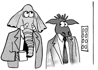 Political illustration showing a Republican elephant and a Democratic donkey trying not to notice one another.