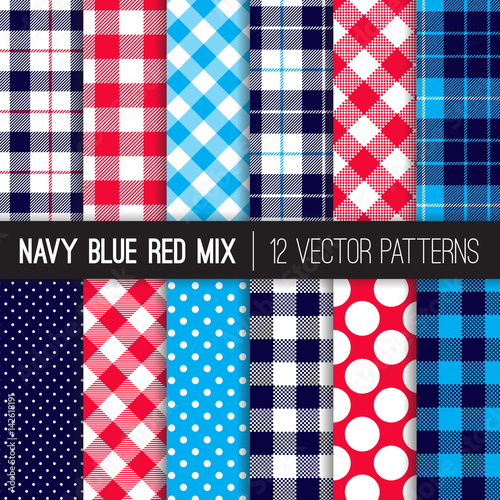 Patriotic Red, White, Blue Polka Dots, Gingham And Tartan Plaid Vector  Patterns.