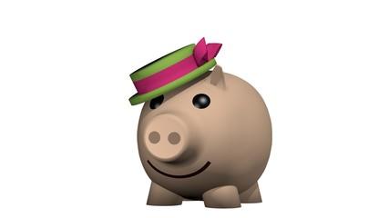 3d Illustration, Schweinchen mit Hut