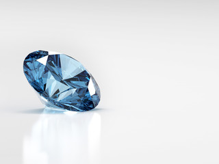 3d blue diamond isolated on white background.