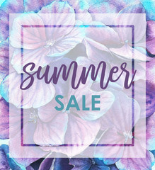 Design of hand-drawn watercolor floral banner with summer sale logo. Discount card for summer season with hydrangea blossom background. Promotion offer with vibrant violet flowers