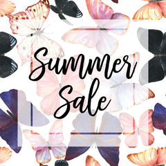 Colorful hand drawn seamless pattern with watercolor tropical butterflies. Summer sale. Web banner or poster for e-commerce, on-line cosmetics shop, fashion & beauty shop, store.