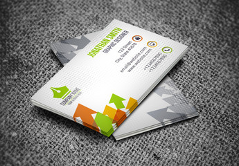 Business Card Layout with Multicolored Arrow Element