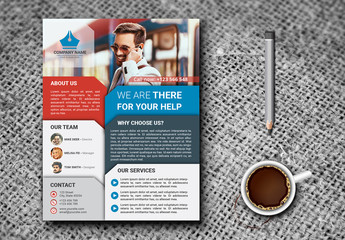 Single Page Flyer Layout with Multicolored Sections