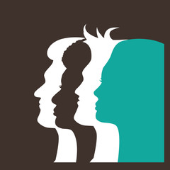 Silhouettes of four multicultural men and women. Profiles of people looking forward in solidarity. EPS 10 vector.