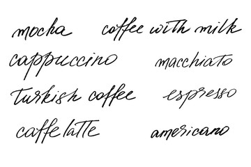 Coffee set. Different types of coffee. Handwritten black text isolated on white background, vector.