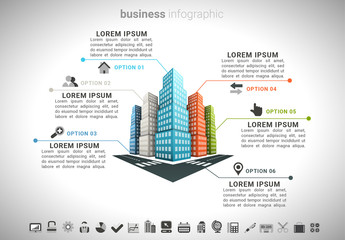 Business Infographic with 3D Building Element 2