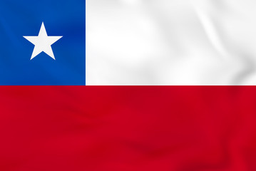 Chile waving flag. Chile national flag background texture.