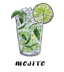 Mojito summer cocktail in a glass watercolor and ink sketch