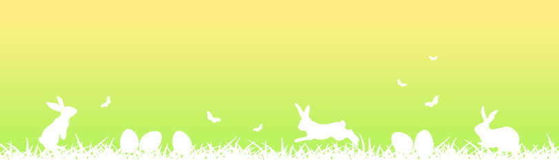 Easter banner with white easter eggs, hares, butterflies and grass  on green and yellow gradient background