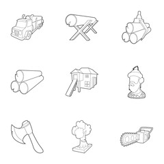 Firewood icons set, outline style