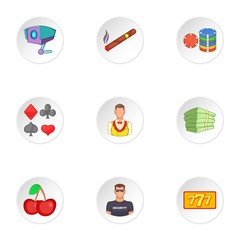 Gambling icons set, cartoon style